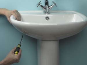 Fixing basin in place