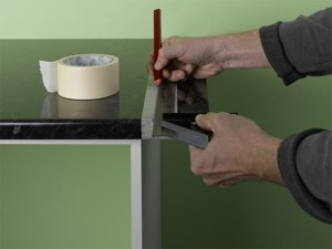 using masking tape on kitchen worktop cutting line