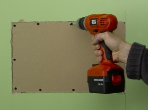 cutting plasterboard