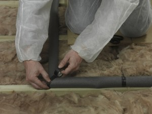 taping joints of pipe insulation