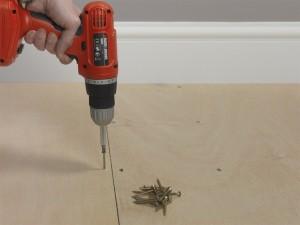 Screwing into floorboards