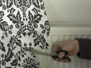 trimming wallpaper around radiator