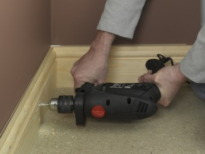 drilling hole in skirting board