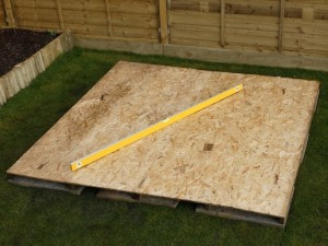 checking shed base is level