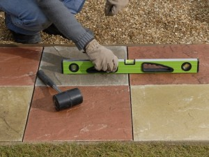 checking paving slabs are level