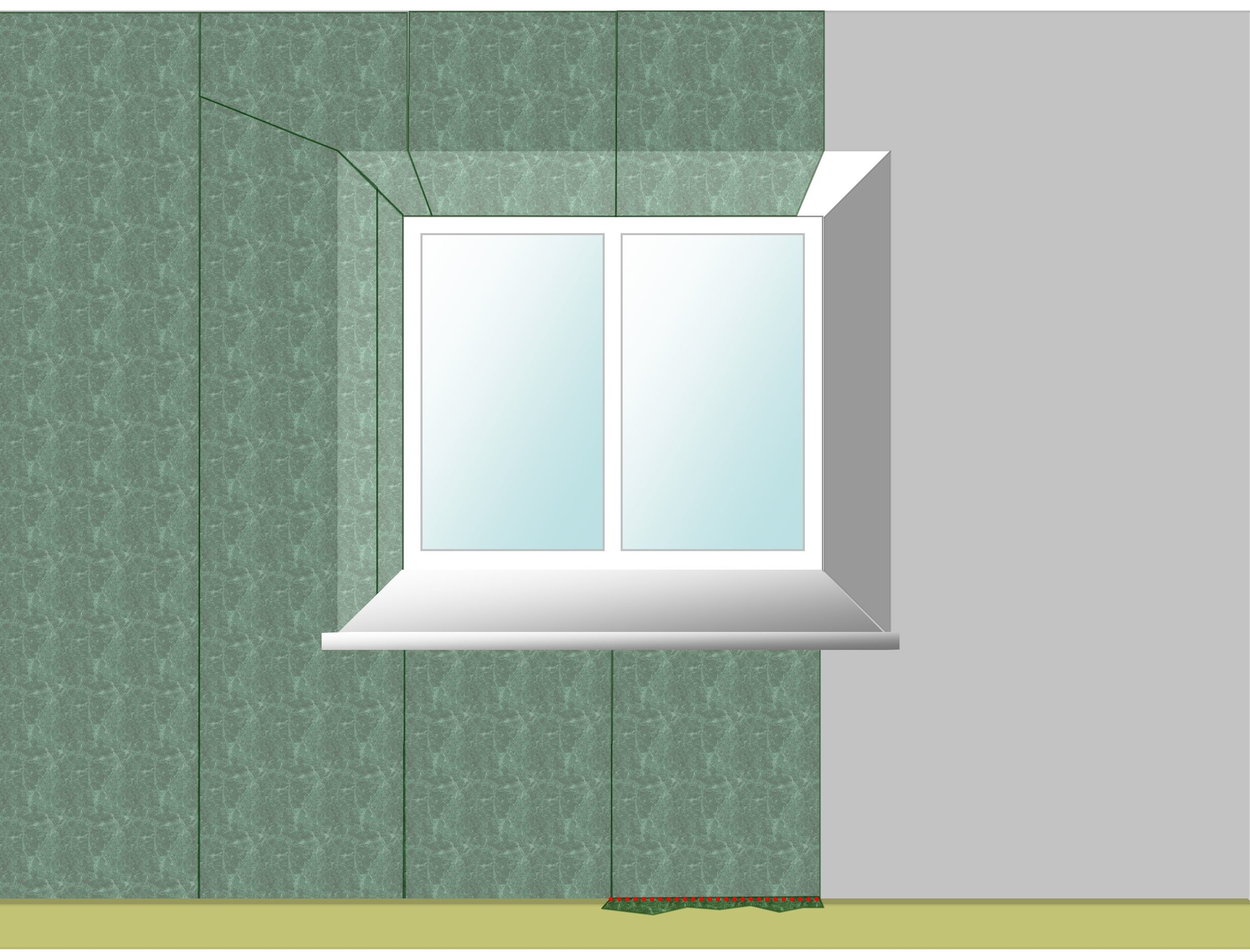 Wallpapering around a window for Wallpapering a wall