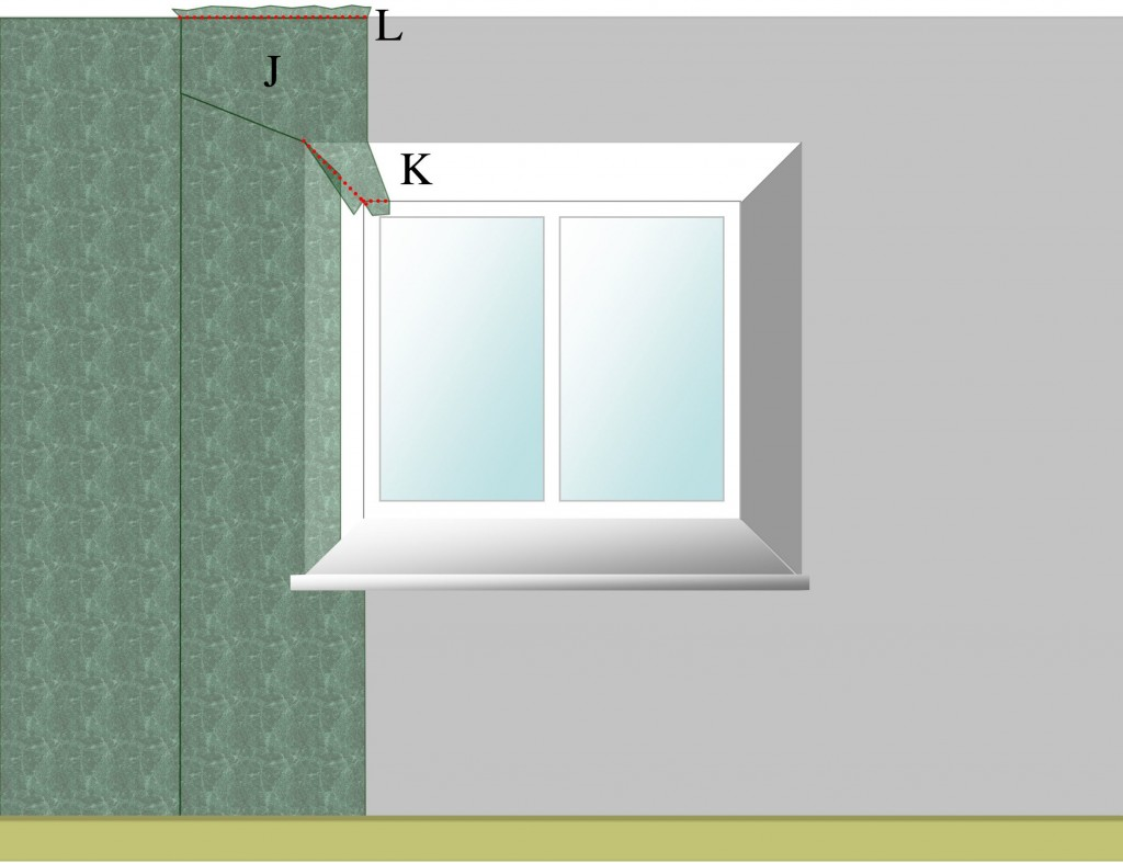 Small length of wallpaper above a window recess