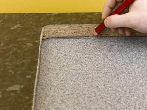 using old worktop as template for new kitchen worktop