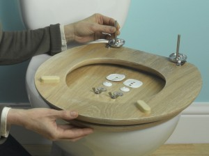 Undoing old toilet seat fixings and assembling the new one