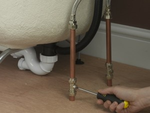 Turning on isolation valves for bath water supply