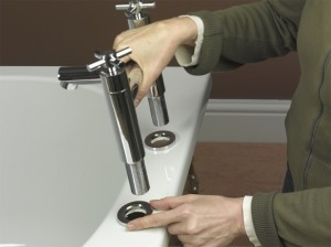 Positioning washers and seals for bath taps