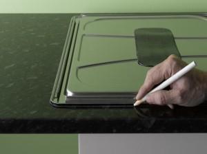 marking guideline around edge of kitchen sink