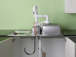 assembling the sink, tap and waste for kitchen sink