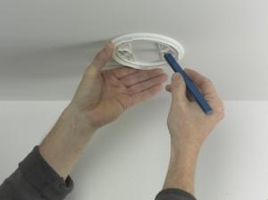 marking holes for smoke alarm