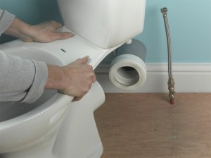 toilet and pan connector position