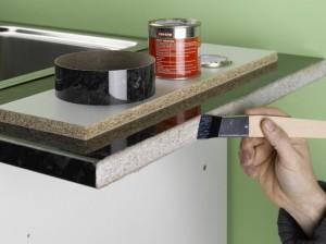 applying contact adhesive to worktop edge