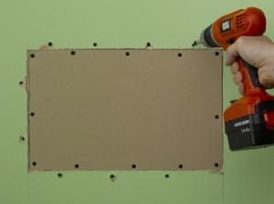 filling plasterboard