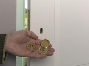 fitting interior and exterior door escutcheon