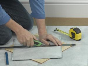 cutting vinyl tiles