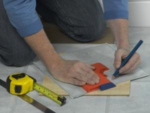 marking off for cutting vinyl tile