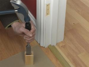 splitting piece of wood
