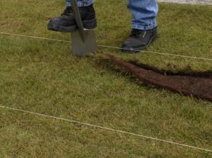 Mark line of gravel path