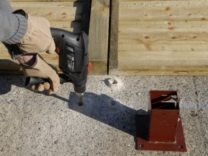 drilling holes for bolt down post brackets
