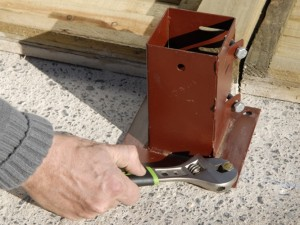 secure post bracket with bolts