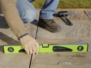patio slabs level