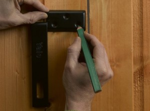 marking off fixing points for hasp and staple