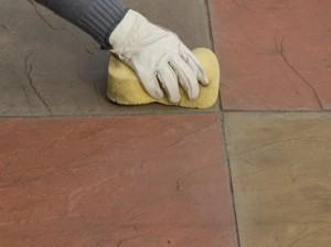 wiping away excess mortar