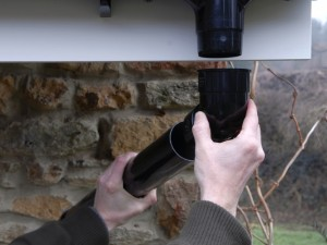 Using offset bends to connect with downpipe