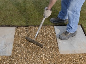 covering weedproof membrane with gravel