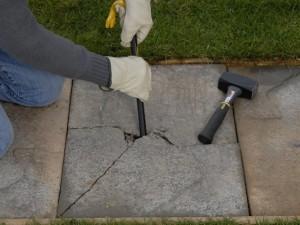 Removing broken patio or path slab