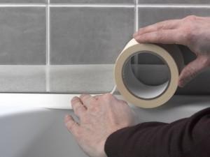 Using masking tape with silicone sealant