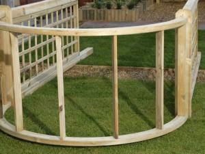 Assembling a wooden arch