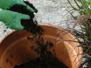 Filling pot with compost