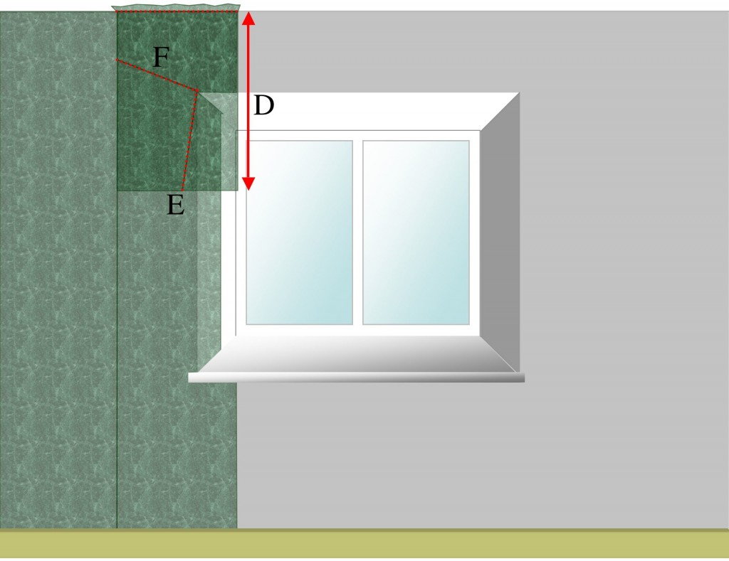 Splicing wallpaper joint above window