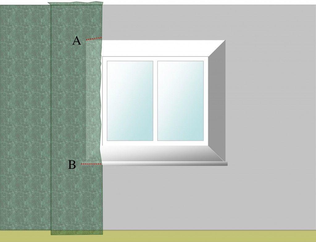 Starting wallpapering around a window