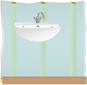 Fitting basin on hollow stud wall