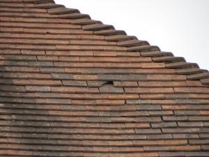 Broken tile on roof