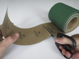Cutting sandpaper to size